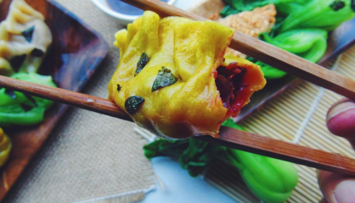 Spooky Beet, Lentil and Mushroom Dumplings