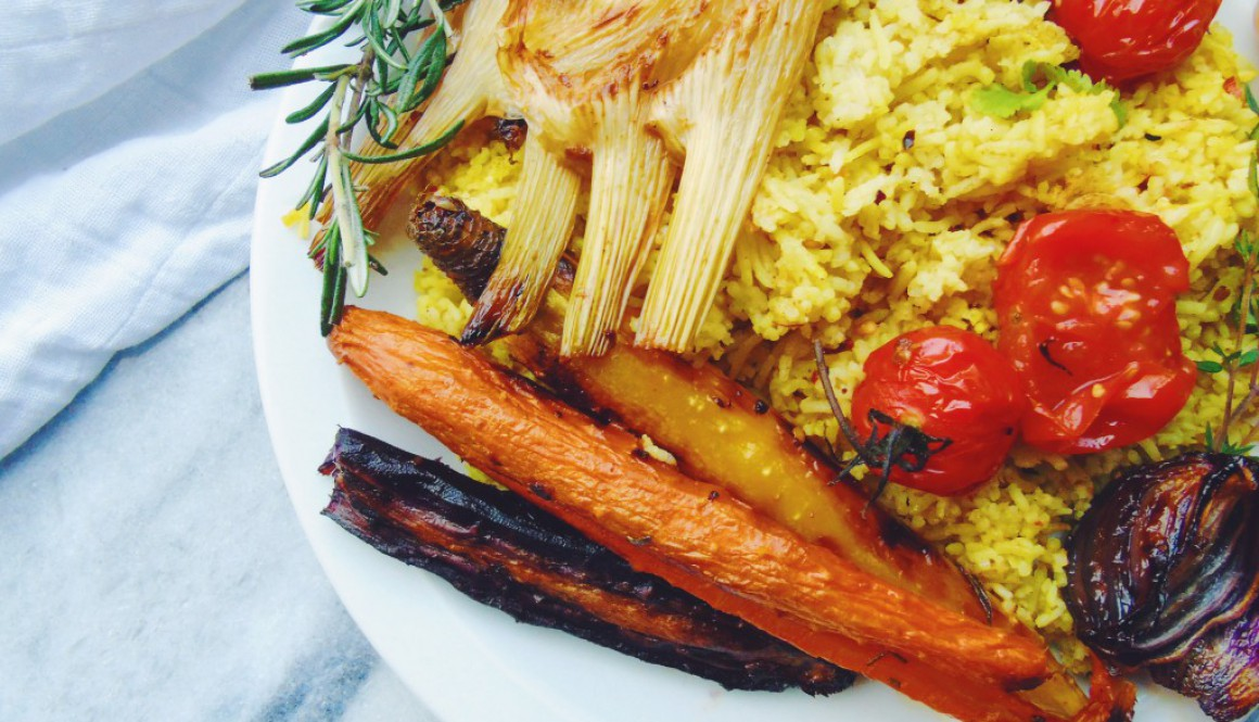 Roasted Vegetables with Curried Rice