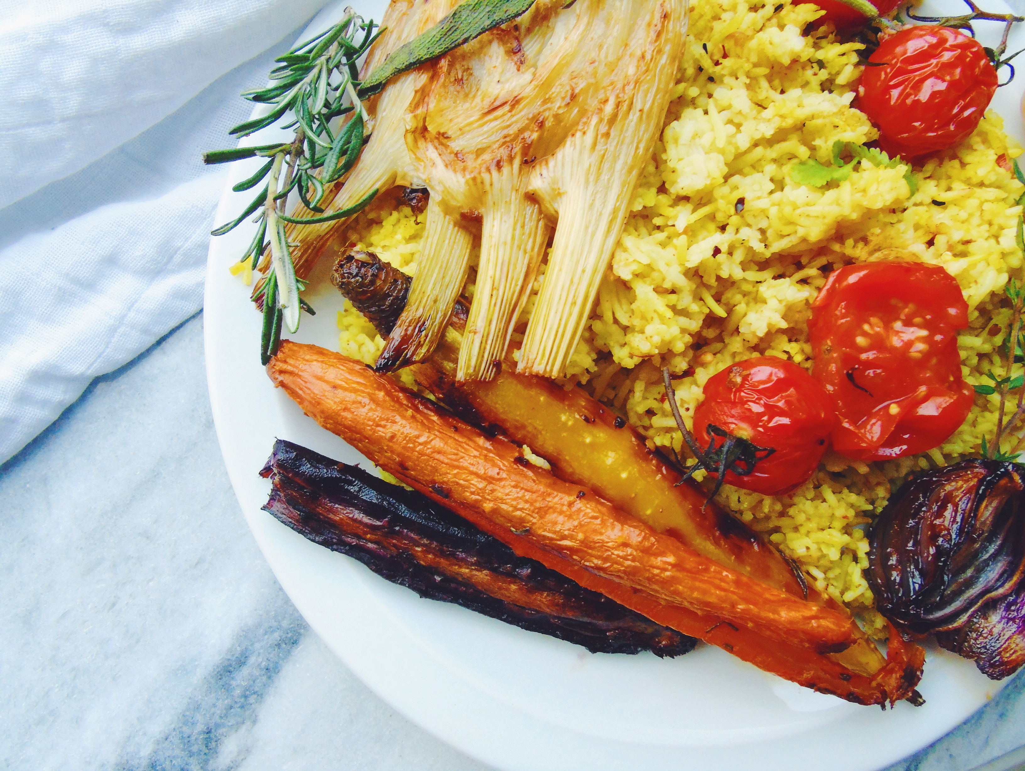 Roasted vegetables and curried rice