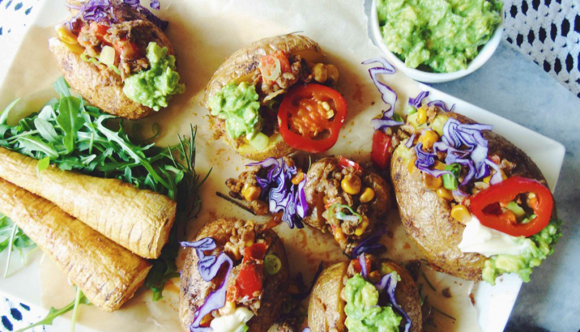 Mexican Style Lentil Stuffed Potatoes