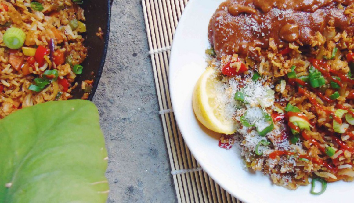 Vegetable Fried Rice and Satay Sauce