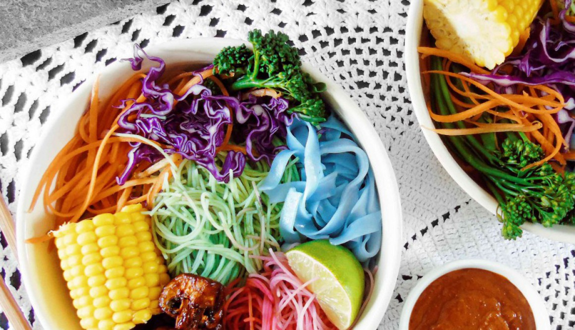 Rainbow Noodle Bowl – With Satay Sauce (refined sugar free)