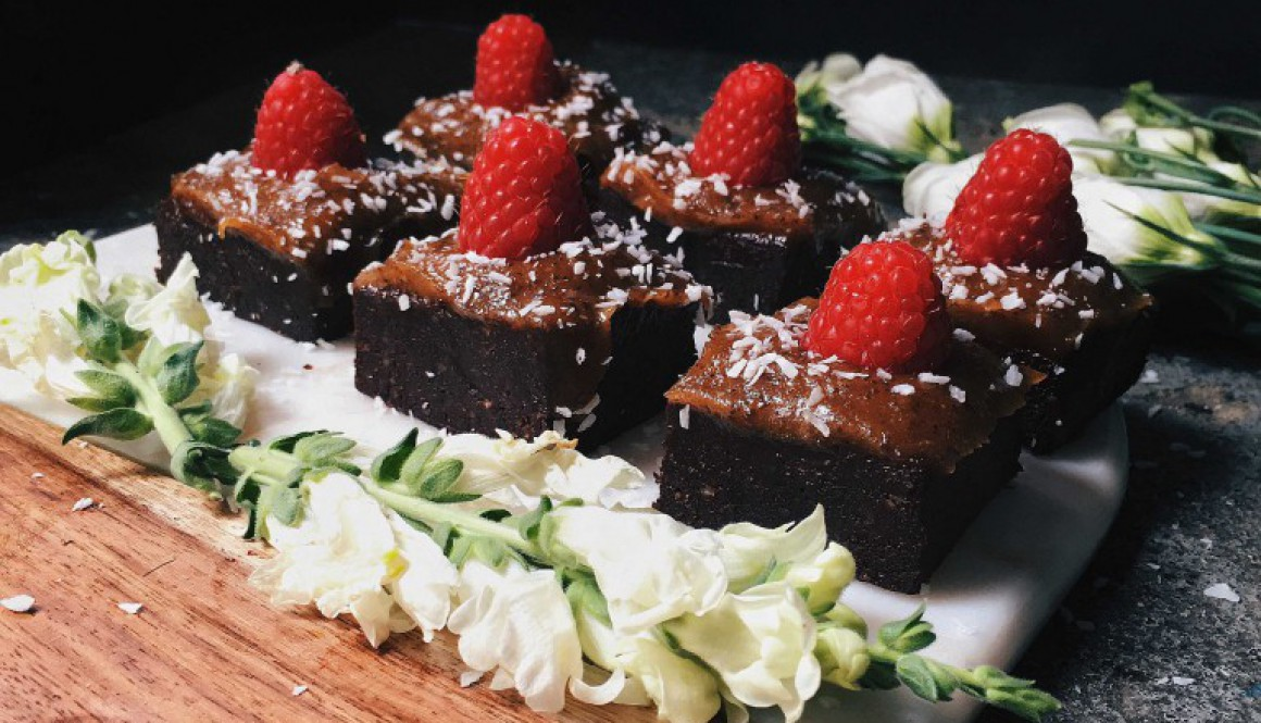Raw Vegan Brownies with a Raw Salted Caramel Sauce