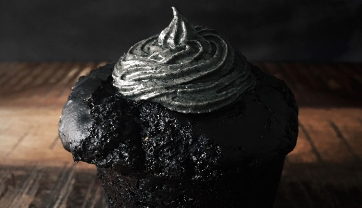 Black Cupcakes w/ Sliver Frosting – Halloween Addition.