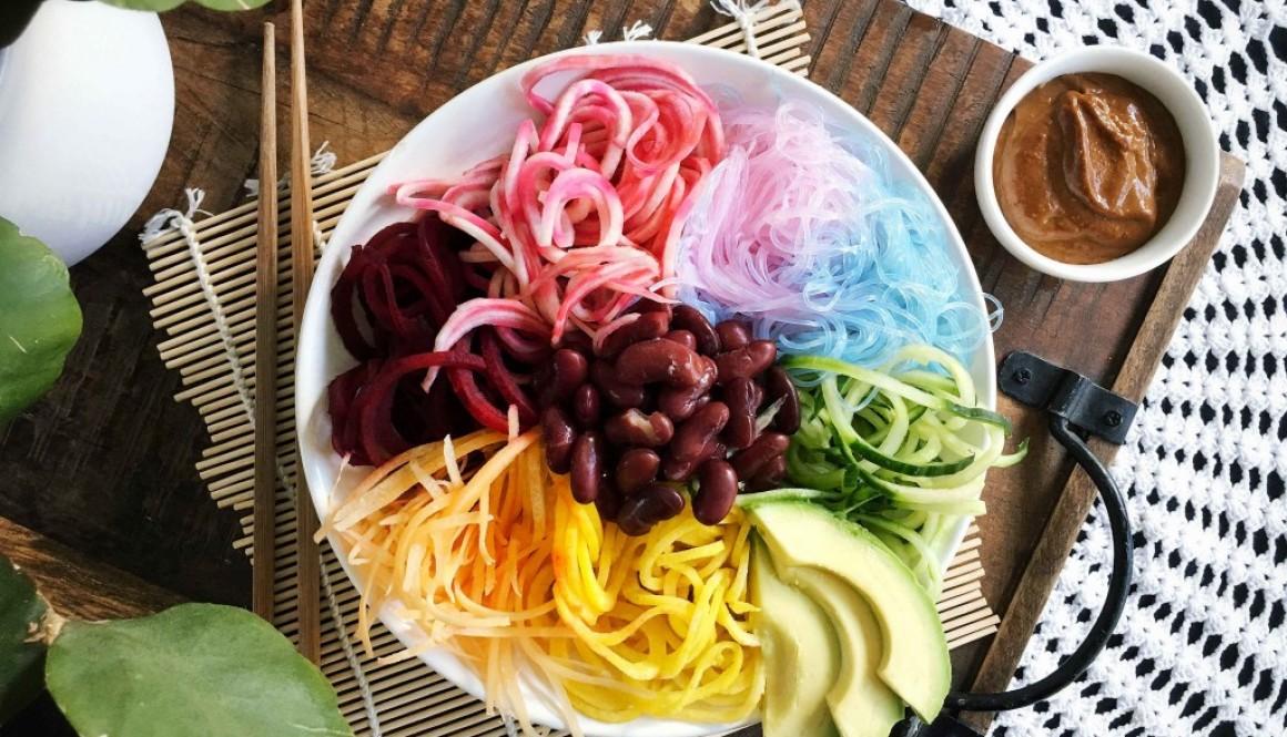 Beet Noodle Salad w/ Satay Sauce