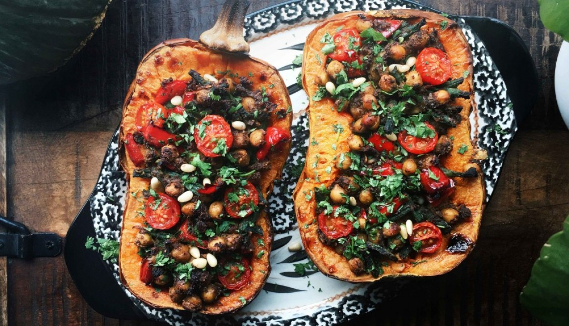 Chickpea Stuffed Butternut Squash