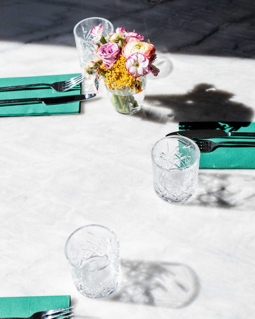 Table setting with afternoon shadows