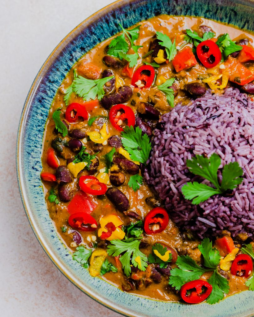 Close up of the coconut kidney bean curry