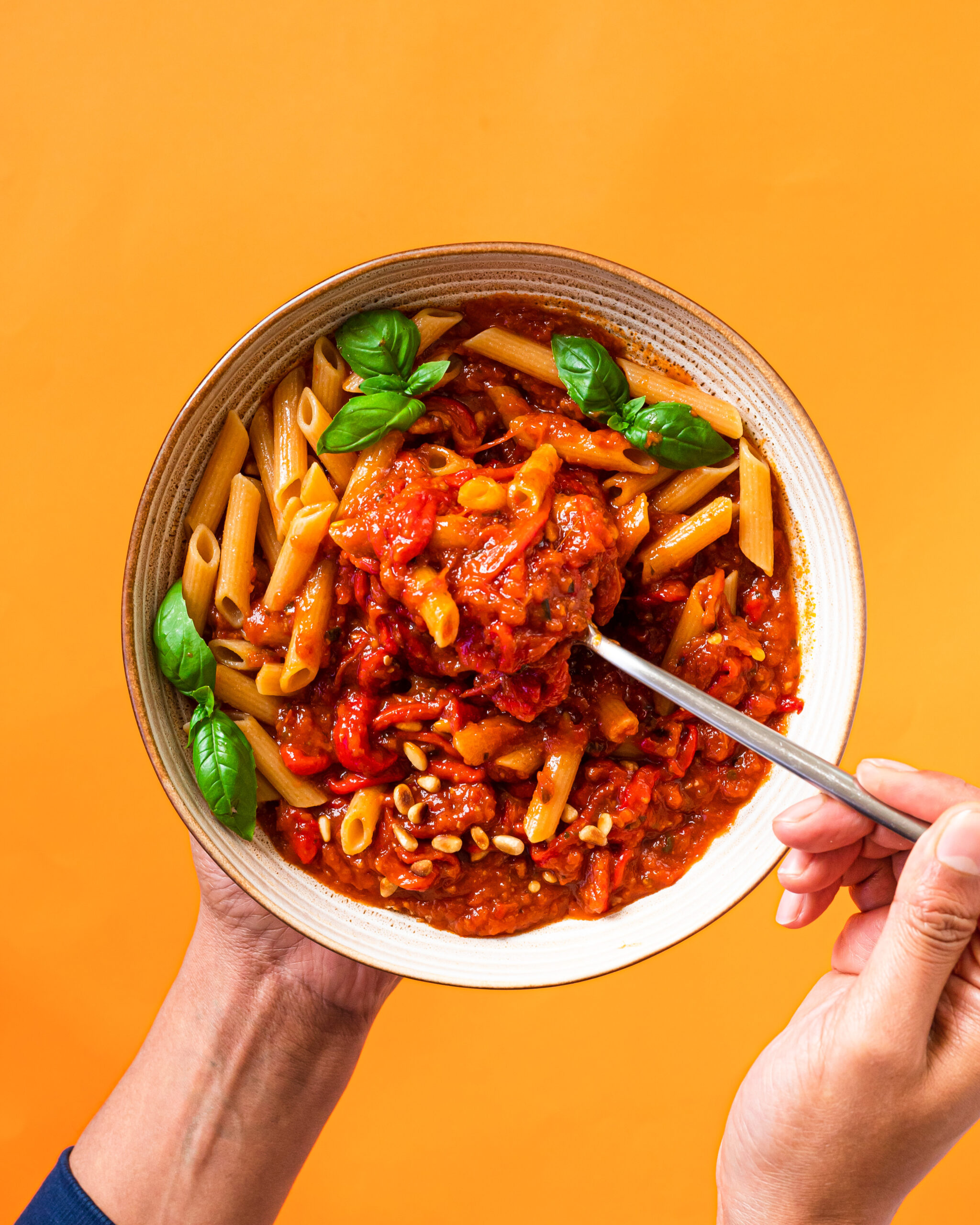 Lentil Pasta With Roasted Bell Pepper Sauce